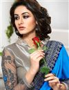 photo of Grey And Blue Color Jacquard And Net Saree