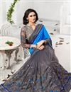 image of Grey And Blue Color Jacquard And Net Saree