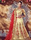 image of Bridal Wear Cream And Red Color Fancy Fabric Embroidered Lehenga Style Saree