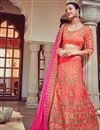 image of Wedding Bridal Wear Peach And Pink Color Designer Fancy Fabric Lehenga Style Saree With Unstitched Blouse