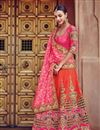 image of Bridal Wear Orange And Pink Color Fancy Fabric Embroidered Lehenga Style Saree