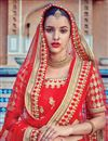photo of Fancy Fabric Designer Bridal Lehenga Choli In Red Color With Embroidery Work