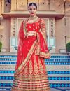 image of Bridal Wear Red Color Fancy Fabric Embroidered 3 Piece Lehenga Choli