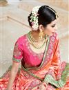 photo of Wedding Wear Orange Color Designer Embroidered Satin Saree
