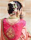 picture of Beautifully Embroidered Festive Wear Orange Color Designer Saree In Satin Fabric