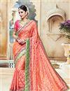 image of Wedding Wear Orange Color Designer Embroidered Satin Saree