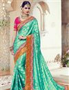image of Wedding Wear Green Color Designer Embroidered Satin Saree