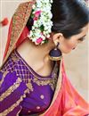 photo of Spectacular Orange And Pink Color Designer Festive Wear Satin Saree With Embroidery Work