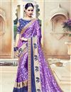 image of Venerable Purple Color Designer Satin Embroidered Saree With Unstitched Blouse