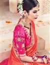 photo of Venerable Orange Color Designer Satin Embroidered Saree With Unstitched Blouse