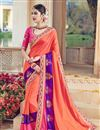 image of Venerable Orange Color Designer Satin Embroidered Saree With Unstitched Blouse