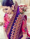 photo of Wedding Wear Purple Color Designer Embroidered Satin Saree