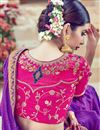 picture of Wedding Wear Purple Color Designer Embroidered Satin Saree