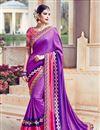 image of Wedding Wear Purple Color Designer Embroidered Satin Saree