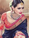 photo of Mesmeric Navy Blue Color Wedding Wear Satin Embroidered Saree With Unstitched Designer Blouse