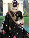 photo of Beautifully Embroidered Festive Wear Black Color Designer Saree In Satin Fabric