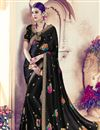 image of Beautifully Embroidered Festive Wear Black Color Designer Saree In Satin Fabric