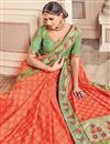 photo of Embroidery Designs On Orange Occasion Wear Saree In Art Silk With Border
