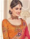 photo of Art Silk Crimson Festive Wear Saree With Embroidery Work With Border