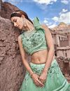 photo of Eid Special Occasion Wear Lehenga In Net Fabric Sea Green With Embroidery Work