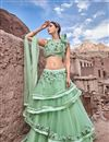 image of Eid Special Occasion Wear Lehenga In Net Fabric Sea Green With Embroidery Work