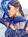 photo of Eid Special Embroidered Navy Blue Party Wear Lehenga In Net Fabric With Ravishing Blouse