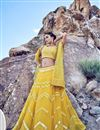 image of Yellow Net Fabric Sangeet Wear 3 Piece Embroidered Lehenga With Enigmatic Blouse