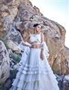 image of Net Fabric Embroidered White Party Wear Lehenga With Enchanting Blouse
