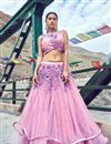 image of Eid Special Beguiling Pink Net Fabric Designer Lehenga With Embroidery