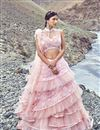 image of Eid Special Soothing Pink Designer 3 Piece Lehenga In Net Fabric With Beautiful Embroidery Work