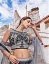 photo of Fancy Grey Bridal Wear Designer Net Fabric Lehenga With Embroidery Design
