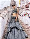 image of Fancy Grey Bridal Wear Designer Net Fabric Lehenga With Embroidery Design