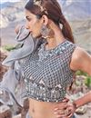 photo of Net Fabric Designer Bridal Lehenga With Embroidery Work On Grey