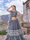 image of Net Fabric Designer Bridal Lehenga With Embroidery Work On Grey