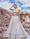 image of Eid Special Embroidered Wedding Wear Lehenga Choli In Net Fabric Off White
