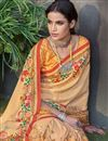 photo of Digitally Printed Salmon Color Art Silk Designer Saree With Blouse