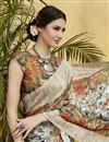 photo of Digital Print Designs On Off White Art Silk Festive Wear Saree