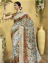 image of Digital Print Designs On Off White Art Silk Festive Wear Saree