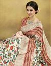 photo of Digital Print Designs On Beige Party Wear Saree In Art Silk