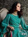 photo of Teal Embroidery Work On Georgette Stylish Salwar Kameez