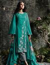 image of Teal Embroidery Work On Georgette Stylish Salwar Kameez