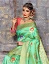 photo of Sea Green Weaving Designs On Festive Wear Traditional Saree In Art Silk