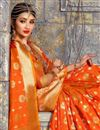 photo of Orange Weaving Work On Art Silk Party Wear Beatific Saree With Blouse
