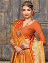 photo of Enchanting Art Silk Orange Designer Saree With Weaving Work