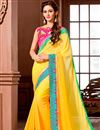 image of Party Wear Yellow Color Georgette Fabric Saree with Banglori Silk Blouse