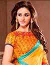 photo of Peach-Yellow Color Party Wear Designer Georgette Fabric Saree