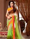 image of Georgette Fabric Party Wear Designer Saree in Green-Beige Color