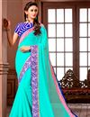 image of Party Wear Cyan Color Georgette Fabric Saree with Banglori Silk Blouse