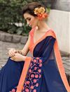 photo of Blue Color Festive Wear Georgette Saree With Banarasi Silk Blouse