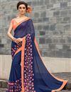 image of Blue Color Festive Wear Georgette Saree With Banarasi Silk Blouse